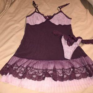 Victoria's Secret deep purple pleated nightie set